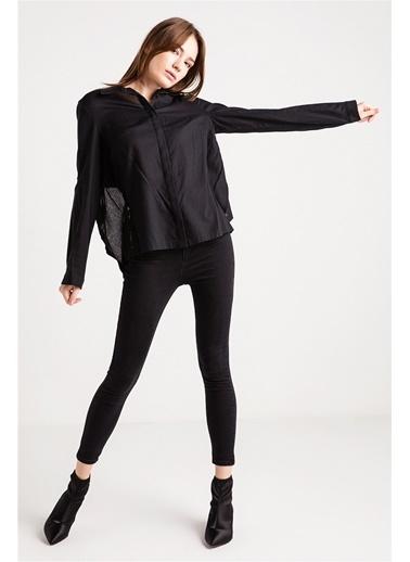 Love'n Fashion Paris Sırtı Dekolte Ve Bağlama Detaylı Gömlek Siyah